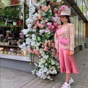 Zara silky hi low pink skirt bloggers favorite